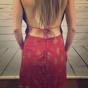Free People Anthropologie Red Gold Backless Dress
